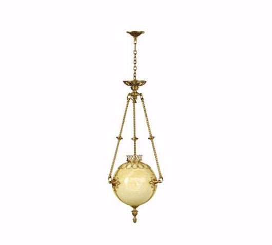 Picture of AN ONYX AND BRASS HALL LIGHT / CHANDELIER