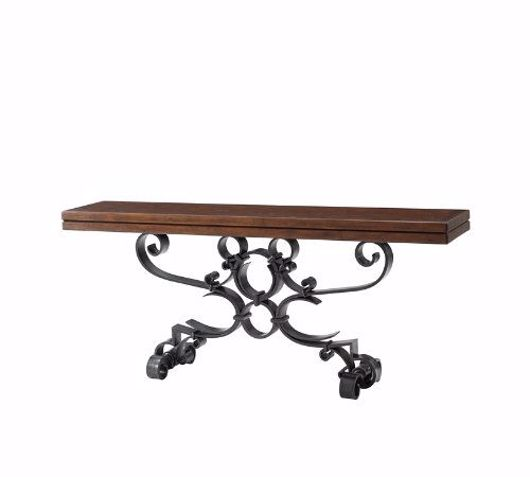 Picture of ANTIQUED IRON SCROLLS CONSOLE TABLE