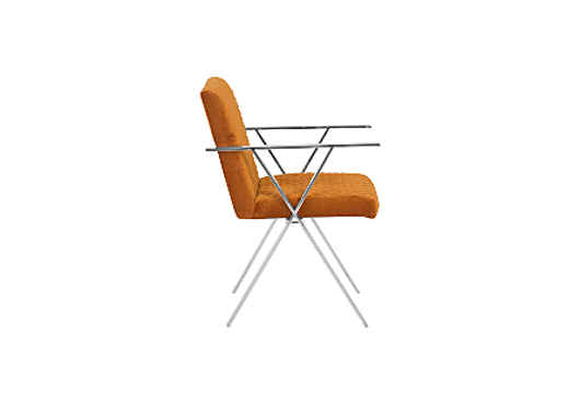 Picture of ALLURE DINING CHAIR QUILTED ORANGE, STAINLESS STEEL FRAME