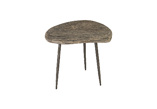 Picture of SKIPPING STONE SIDE TABLE GREY STONE, FORGED LEGS