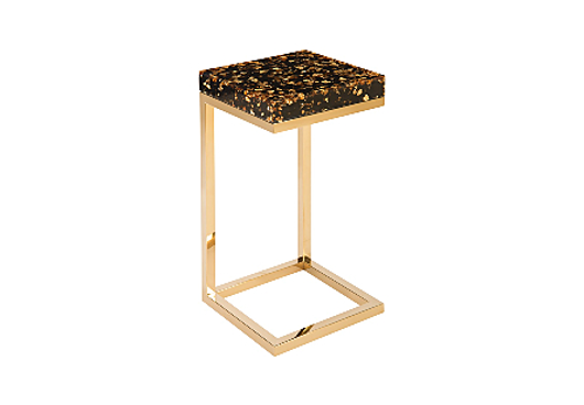 Picture of CAPTURED END TABLE GOLD FLAKE, PLATED BRASS BASE