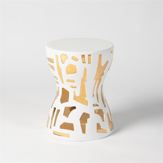 Picture of ABSTRACT GOLD/WHITE STOOL