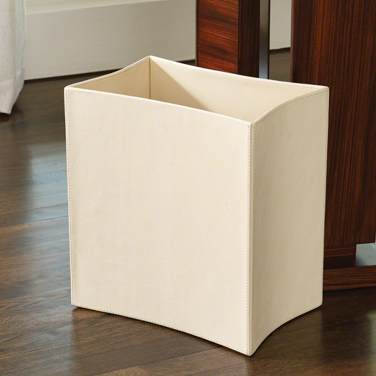 Picture of FOLDED LEATHER WASTE BASKET-IVORY