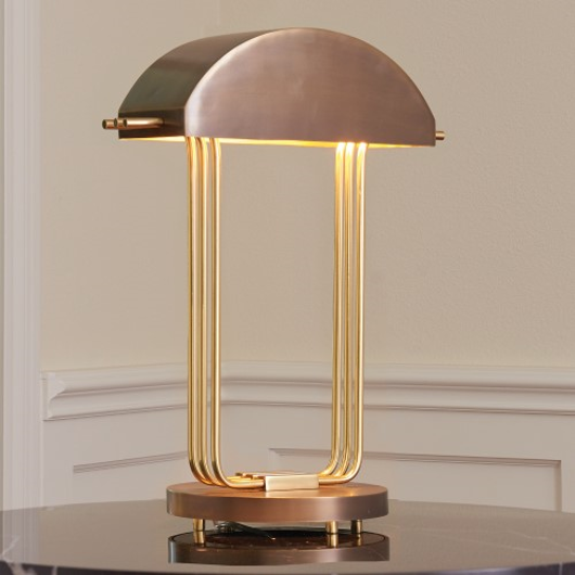 Picture of ARC DECO TABLE LAMP-BRASS/BRONZE