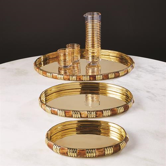 Picture of BANDED BONE AND BRASS TRAY