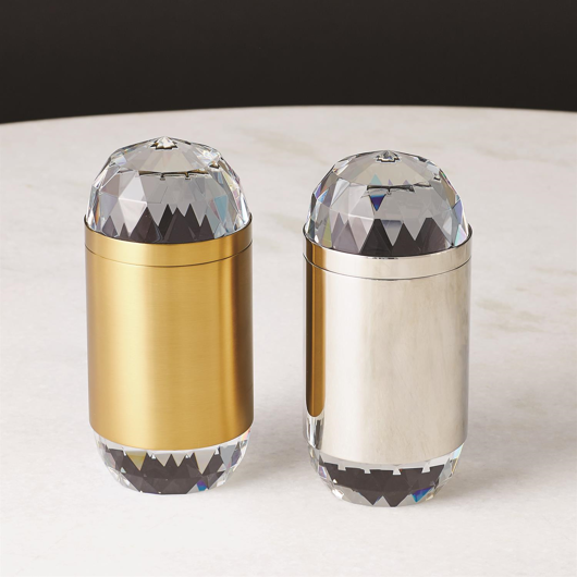 Picture of BANDED CRYSTAL CANDLE-BRASS