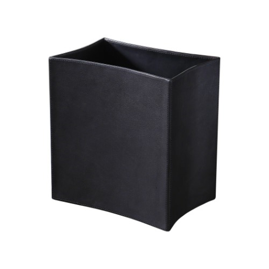 Picture of FOLDED LEATHER WASTE BASKET-BLACK