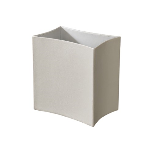 Picture of FOLDED LEATHER WASTE BASKET-GREY
