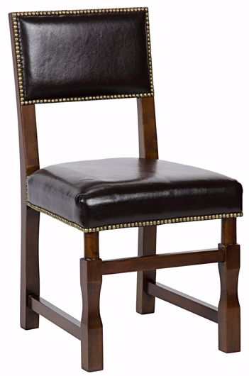 Picture of ABADON SIDE CHAIR W/LEATHER, DISTRESSED BROWN