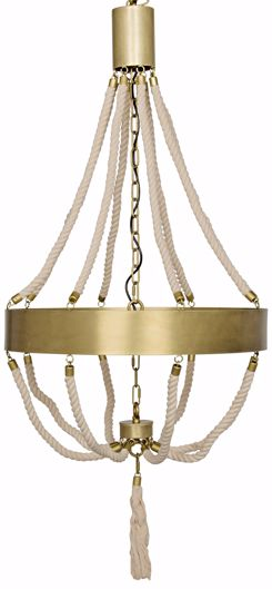 Picture of ALEC CHANDELIER, ANTIQUE BRASS, METAL AND ROPE