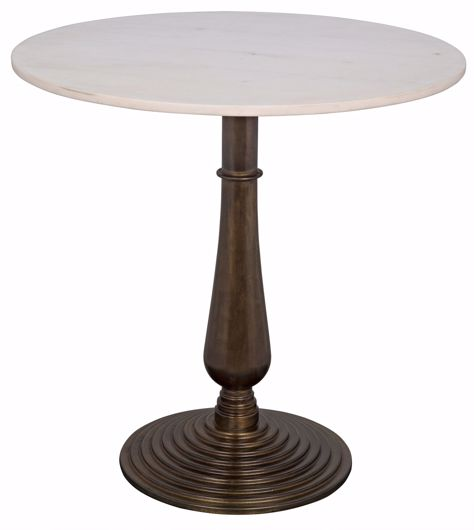 Picture of ALIDA SIDE TABLE, CAST IRON WITH WHITE STONE, AGED BRASS