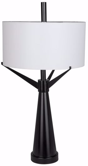 Picture of ALTMAN TABLE LAMP WITH SHADE, BLACK METAL